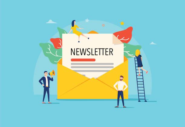 E-Mail abonnieren Vektorillustring-Konzept, E-Mail-Marketing-System, Menschen verwenden Smartphone und abonnieren und Newsletter – Vektorgrafik