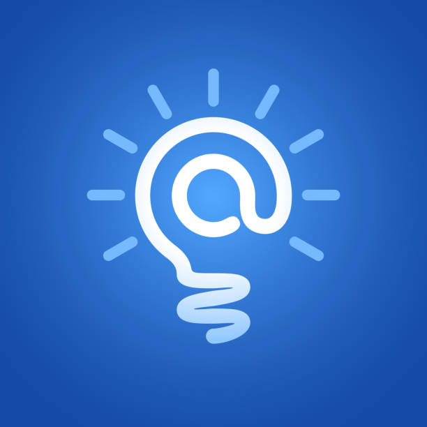 E-mail symbol At Sign in Light Bulb. email signs stock illustrations