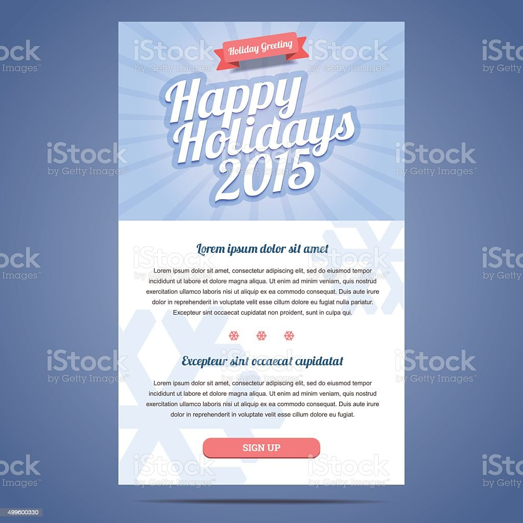 Email Template With Greeting Christmas And Happy New Year Stock