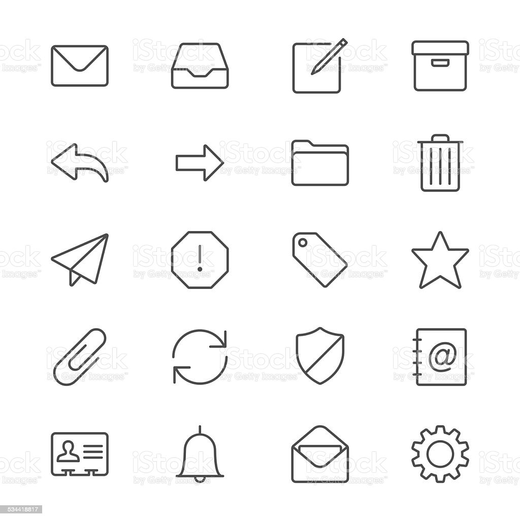 Email thin icons vector art illustration