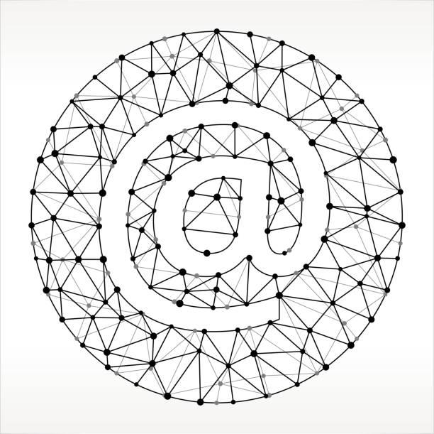 Modèle de courriel Triangle noeud noir et blanc - Illustration vectorielle