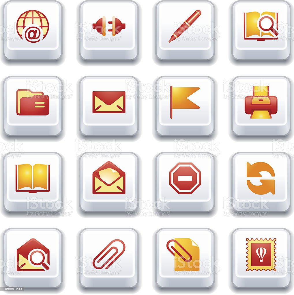 Email Web Icons Red And Yellow Series Stock Vector Art