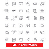 Emails and mails, letters, correspondence, communication, message, announcement line icons. Editable strokes. Flat design vector illustration symbol concept. Linear signs isolated on white background