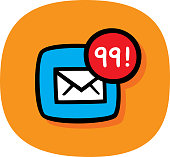 Vector illustration of a hand drawn email icon with a red circle and the number 99 against an orange background.