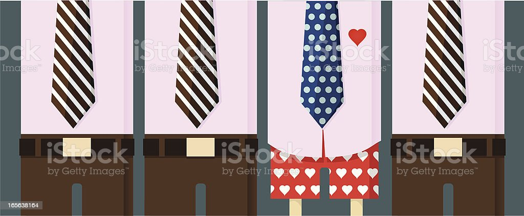 Embarassed at work with polka dot underwear royalty-free stock vector art