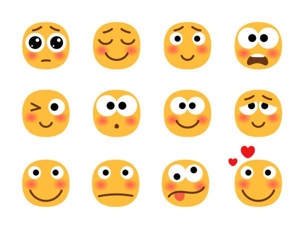 Embarrassed emoji set vector art illustration