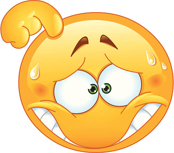 embarrassed emoticon - confused emoji stock illustrations, clip art, cartoons, & icons