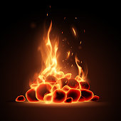 Embers with flame in vector
