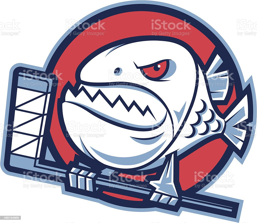 Emblem aggressive piranha holds hockey stick royalty-free stock vector art