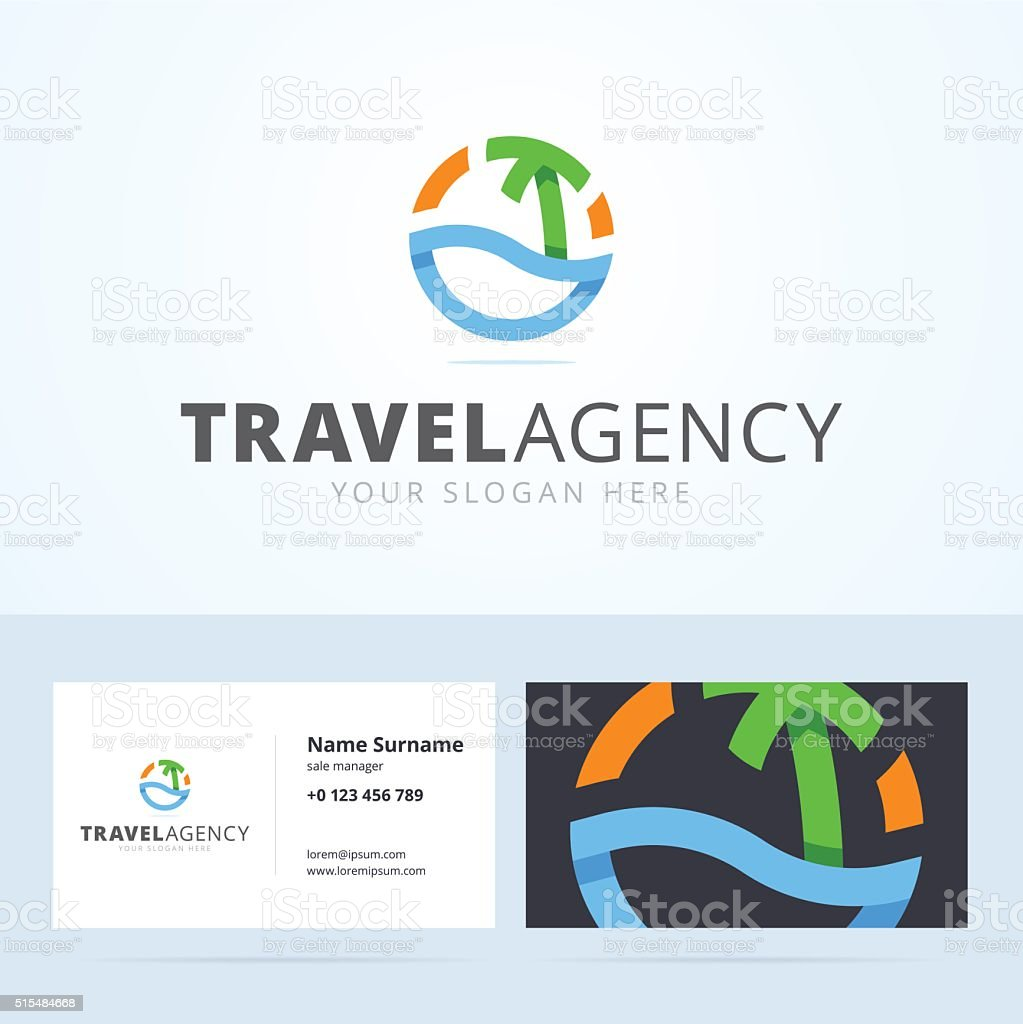 Emblem And Business Card Template For Travel Agency Stock Vector Art ...