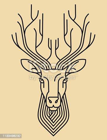 Emblem, badge with a deer head. Ribbon, motto, Laurel wreath, bow, arrows, sword style engraving linear design for premium logo or coat of arms. Deer with the crown is the symbol of nobility, wealth.