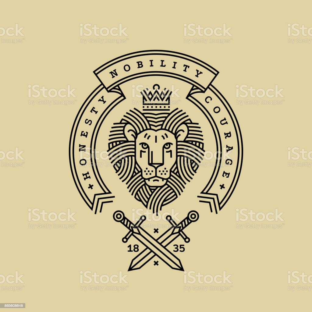 Emblem, badge with a head of the royal lion, ribbon, motto and swords in the style of engraving of linear design for a premium sing or coat of arms. Lion with a crown symbol of power, strength, security.