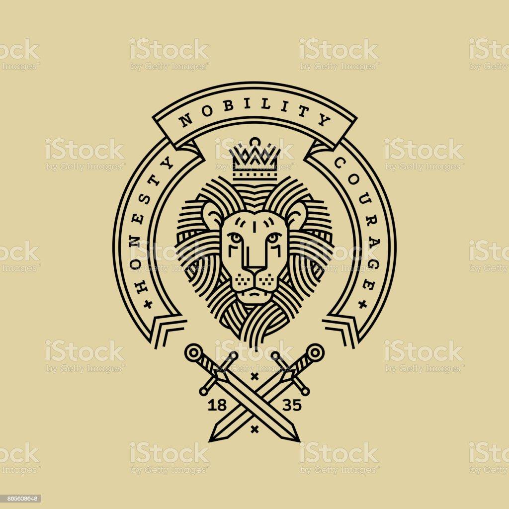 Emblem, Abzeichen mit einem Kopf von dem königlichen Löwen, Band, Motto und Schwerter im Stil der Gravur der Linienführung für eine Premium-singen oder Wappen. Löwe mit Krone Symbol für Kraft, Stärke, Sicherheit. – Vektorgrafik