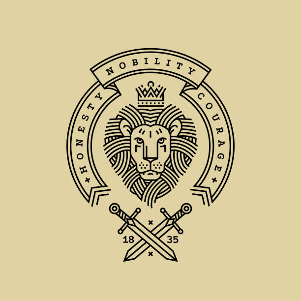 Emblem, badge with a head of the royal lion, ribbon, motto and swords in the style of engraving of linear design for a premium sing or coat of arms. Lion with a crown symbol of power, strength, security. Emblem, badge with a head of the royal lion, ribbon, motto and swords in the style of engraving of linear design for a premium sing or coat of arms. Lion with a crown symbol of power, strength, security. lion stock illustrations