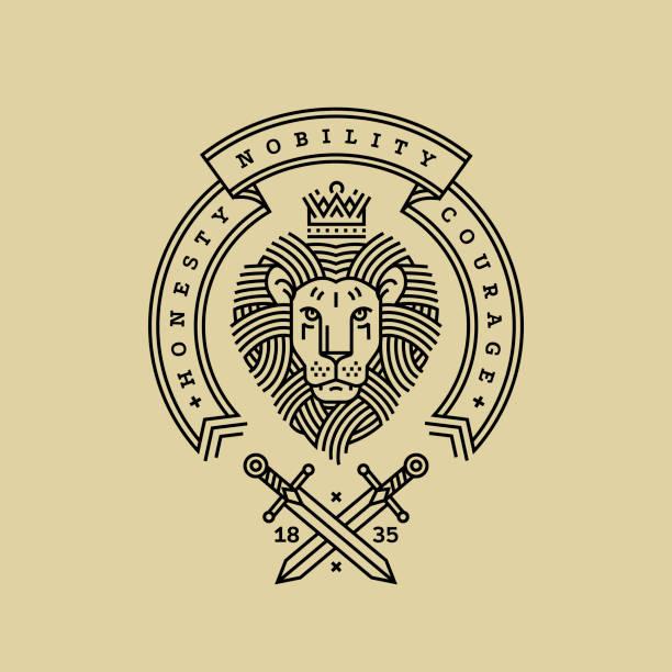 emblem, abzeichen mit einem kopf von dem königlichen löwen, band, motto und schwerter im stil der gravur der linienführung für eine premium-singen oder wappen. löwe mit krone symbol für kraft, stärke, sicherheit. - wappen stock-grafiken, -clipart, -cartoons und -symbole