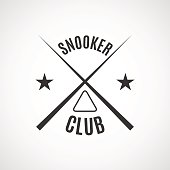 Emblem billiard club, vector illustration.