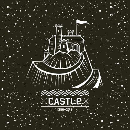 Emblem castle on a mountain