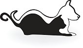 emblem cat and dog silhouettes