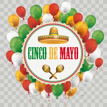 Emblem Cinco De Mayo Sombrero Maracas Ornate Balloons Transparent
