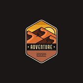 Emblem Desert landscape adventure logo icon