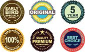 Vector of Warranty, Best choice, Early Bird specials and Quality Premium Guaranteed emblems design. EPS 10 ai.