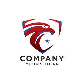 emblem eagle head logo template on white Background