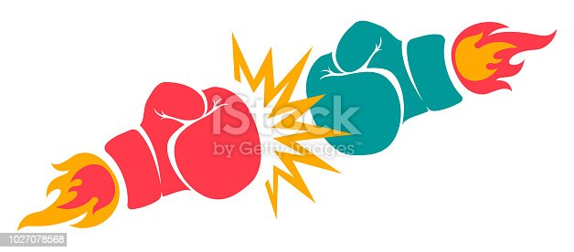 Vector retro poster for a boxing with two gloves. Retro emblem for boxing with red and blue gloves with fire