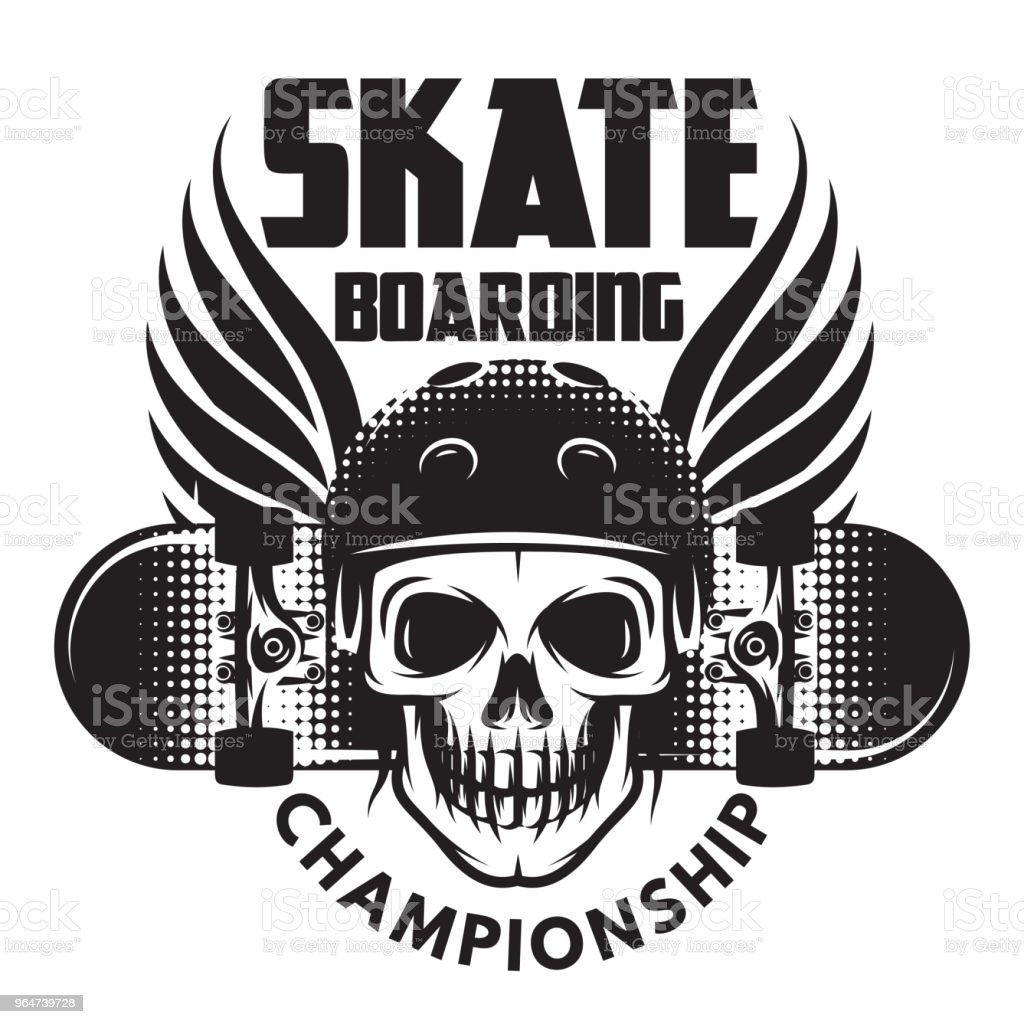 Emblem for skateboarding with skull, wings and skateboard. Vector illustration royalty-free emblem for skateboarding with skull wings and skateboard vector illustration stock vector art & more images of badge