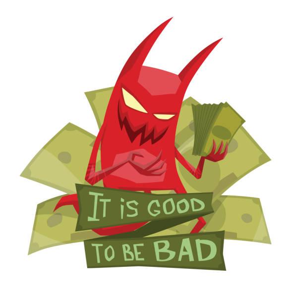 emblem, funny red devil with green money - evil money stock illustrations, clip art, cartoons, & icons