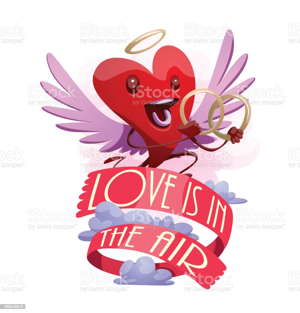 Emblem Funny Red Heart With Wedding Rings stock vector art 888548978 ...