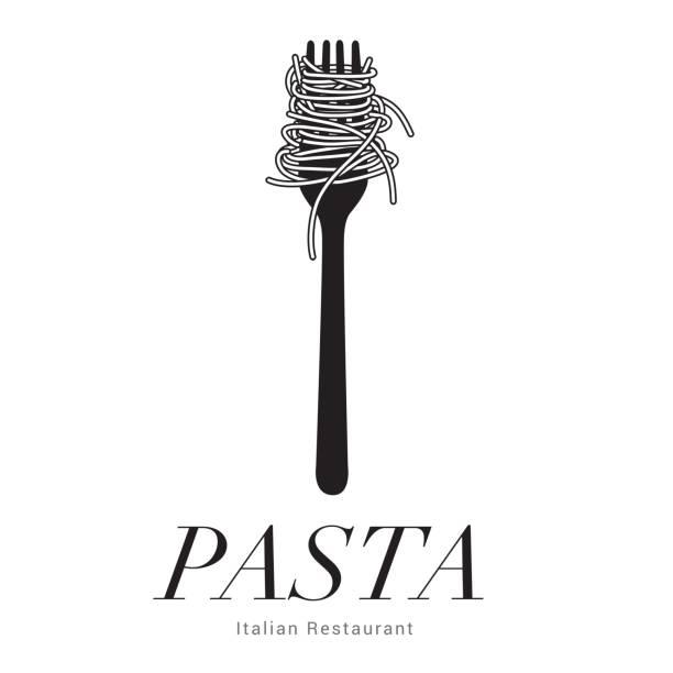 emblem Itatian restaurant, Pasta spaghetti into folk, menu poster, vector illustration Pasta spaghetti into folk, menu poster, vector illustration pasta stock illustrations