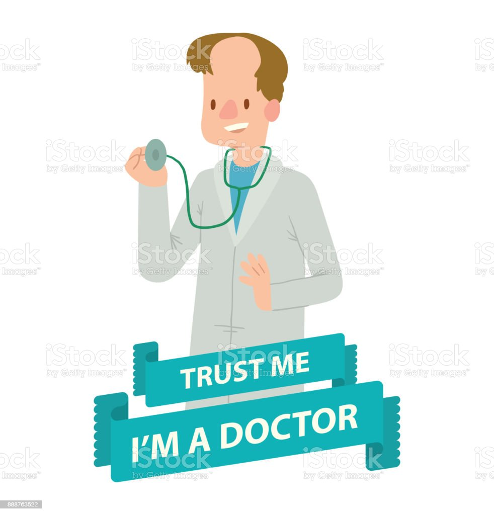 Emblem, man doctor with brown hair vector art illustration