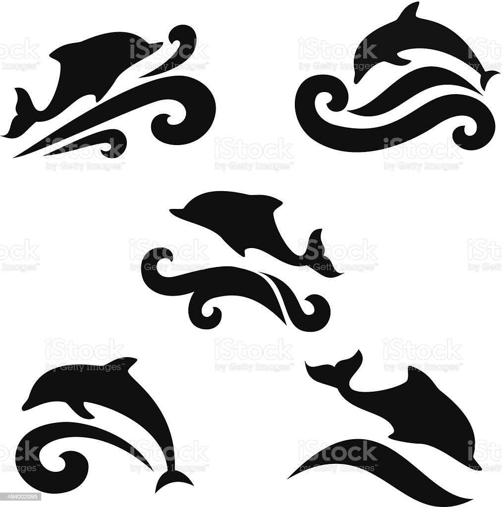 Emblem of a dolphin over the sea vector art illustration