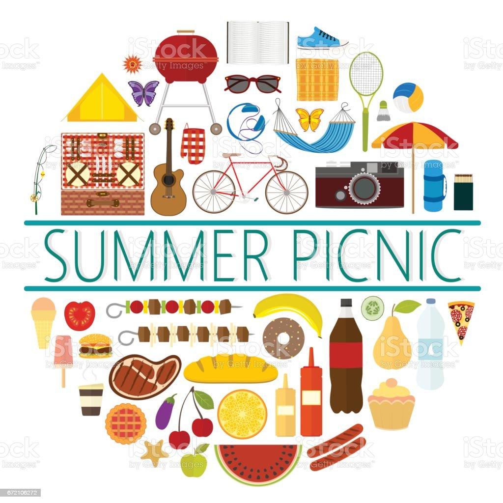 Emblema de um piquenique de verão com ícones de vários objetos e alimentos - ilustração de arte em vetor