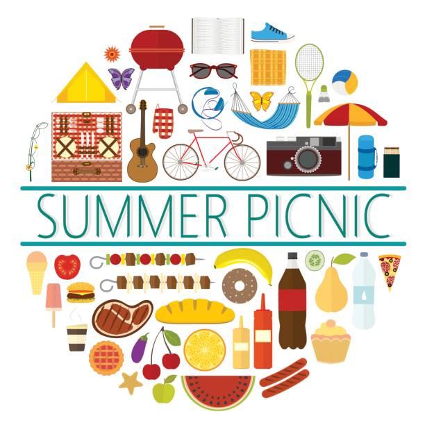ilustraciones, imágenes clip art, dibujos animados e iconos de stock de emblema de un picnic de verano con los iconos de varios objetos y alimentos - picnic