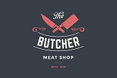 Emblem of Butcher meat shop with Cleaver and Chefs knives, text The Butcher Meat Shop. symbol template for meat business - shop, market, restaurant or design - banner, sticker. Vector Illustration