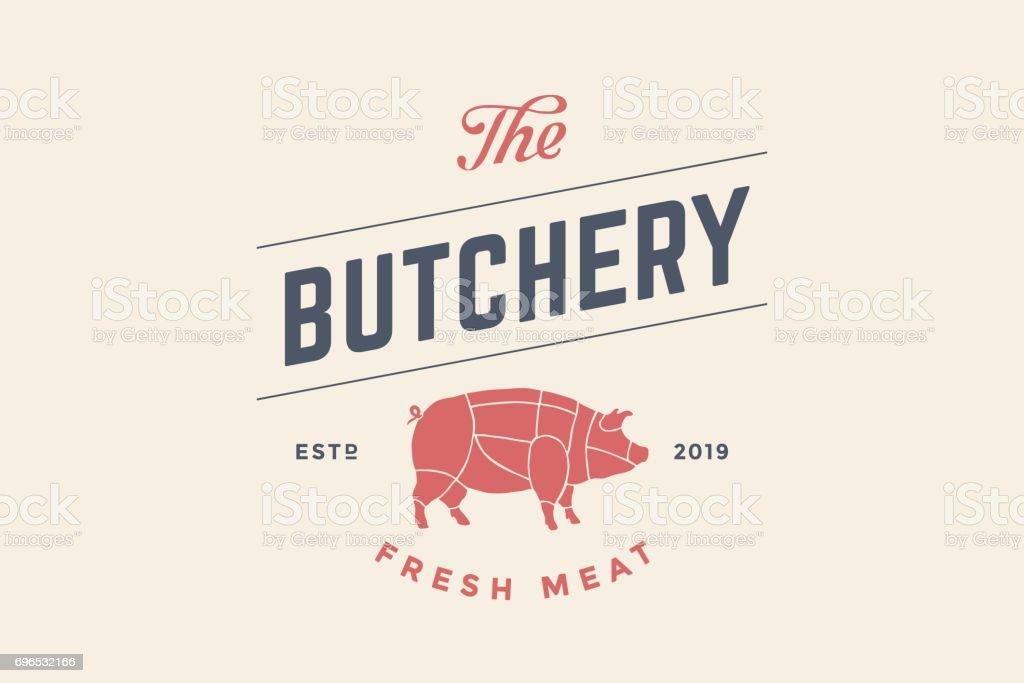 Emblème de la boucherie charcuterie avec la silhouette du cochon - Illustration vectorielle