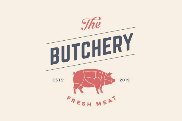 emblem of butchery meat shop with pig silhouette - restaurant logos stock illustrations, clip art, cartoons, & icons