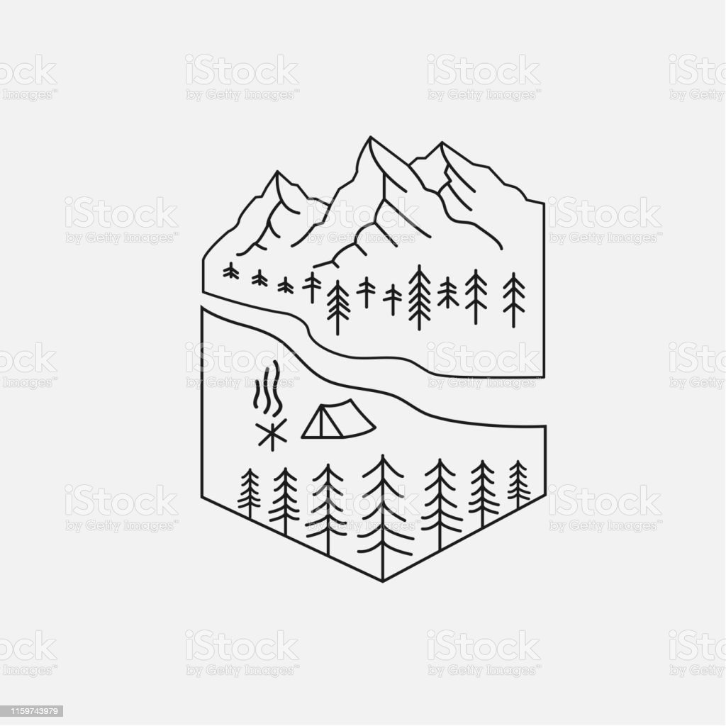 Emblem of camping vector. Outdoor activity symbol with gray...