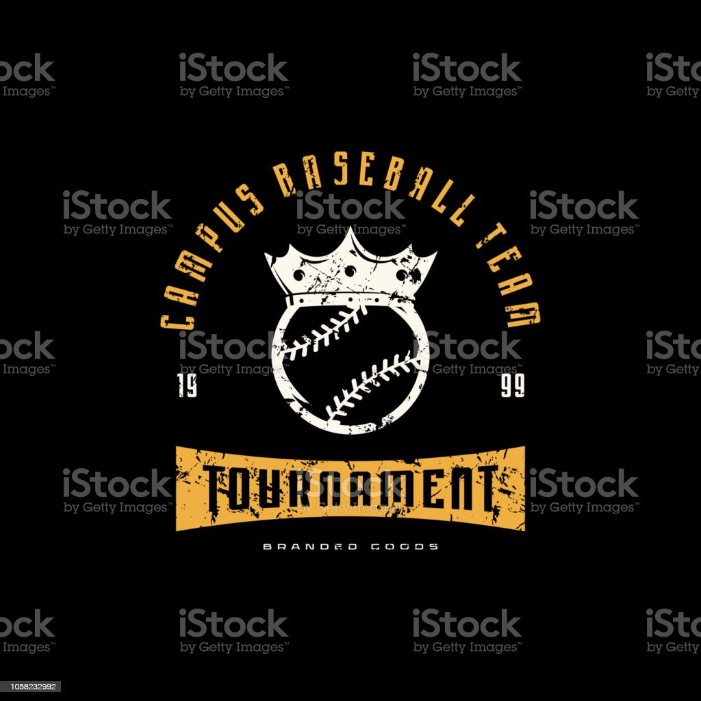 Emblem of campus baseball tournament with vintage texture for sticker...