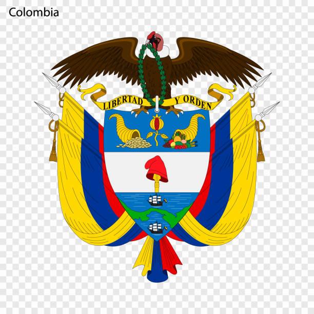 stockillustraties, clipart, cartoons en iconen met embleem van colombia. - colombia land