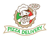 Pizza delivery. Emblem of funny cook or chef or baker with pizza and logo in stylized circle or cartoosh on background colors of the Italian flag. Children vector illustration.