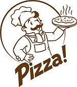 Emblem of funny cook or chef or baker with pizza and  on background colors of the Italian flag. Monochrome version. Children vector illustration.