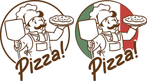 illustrations, cliparts, dessins animés et icônes de symbole de drôle cuisinier ou boulanger avec une pizza - boulanger
