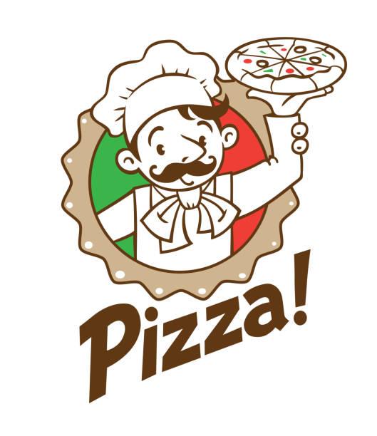 emblem der lustigen italienischen koch mit pizza und logo - pizzeria stock-grafiken, -clipart, -cartoons und -symbole