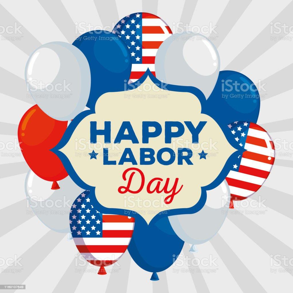 Emblem Of Happy Labor Day Traditional Celebration Stock Illustration