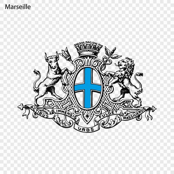 stockillustraties, clipart, cartoons en iconen met embleem van marseille - marseille