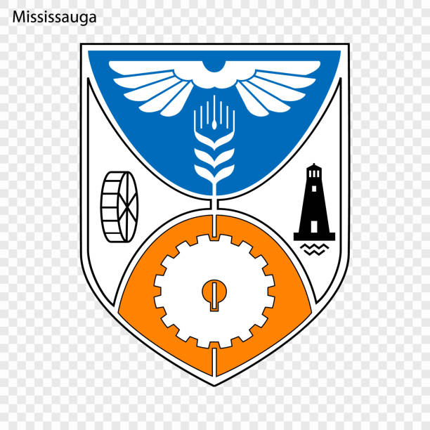 Emblem of Mississauga Emblem of Mississauga. City of Canada. Vector illustration mississauga stock illustrations