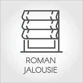 emblem of roman jalousie. Label for home and office interior design concept, shop catalog, online shops and other projects