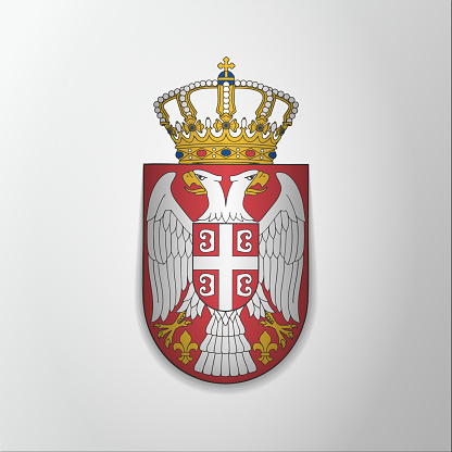 Emblem of Serbia. 15th of February. Serbian double eagle.Vector illustration. Blazon, coat of arms. National symbol. Graphic design template.